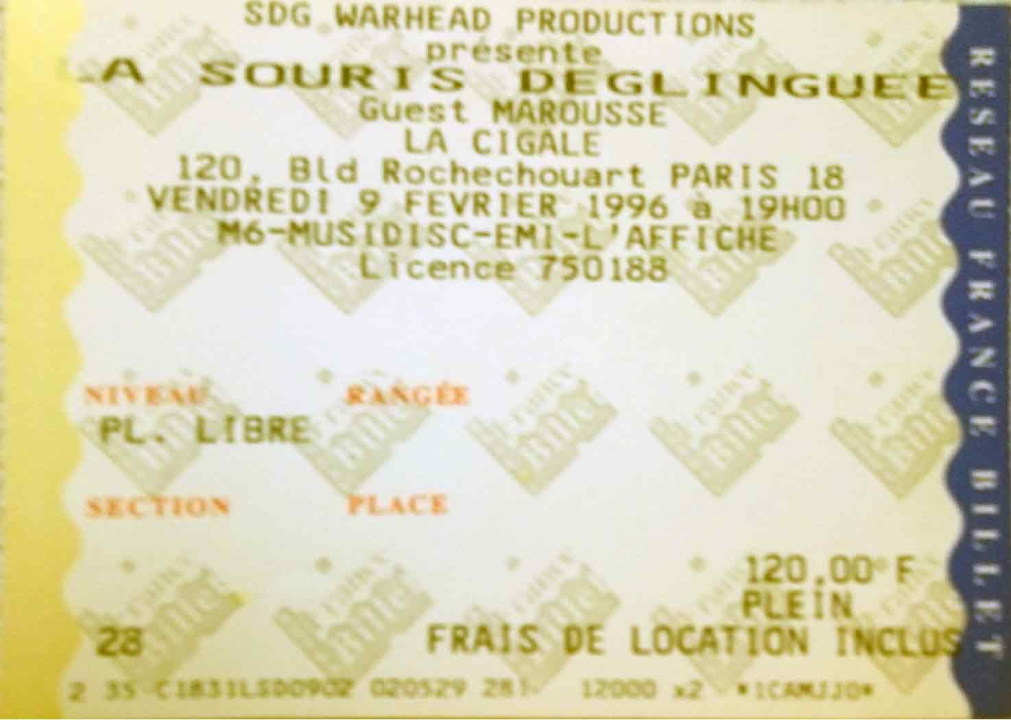 """9 février 1996 La Souris Deglinguée, Marousse à Paris """"la Cigale"""""""