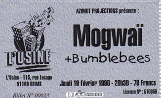 """19 février 1998 Mogwaï, Bumblebees à Reims """"l'Usine"""""""