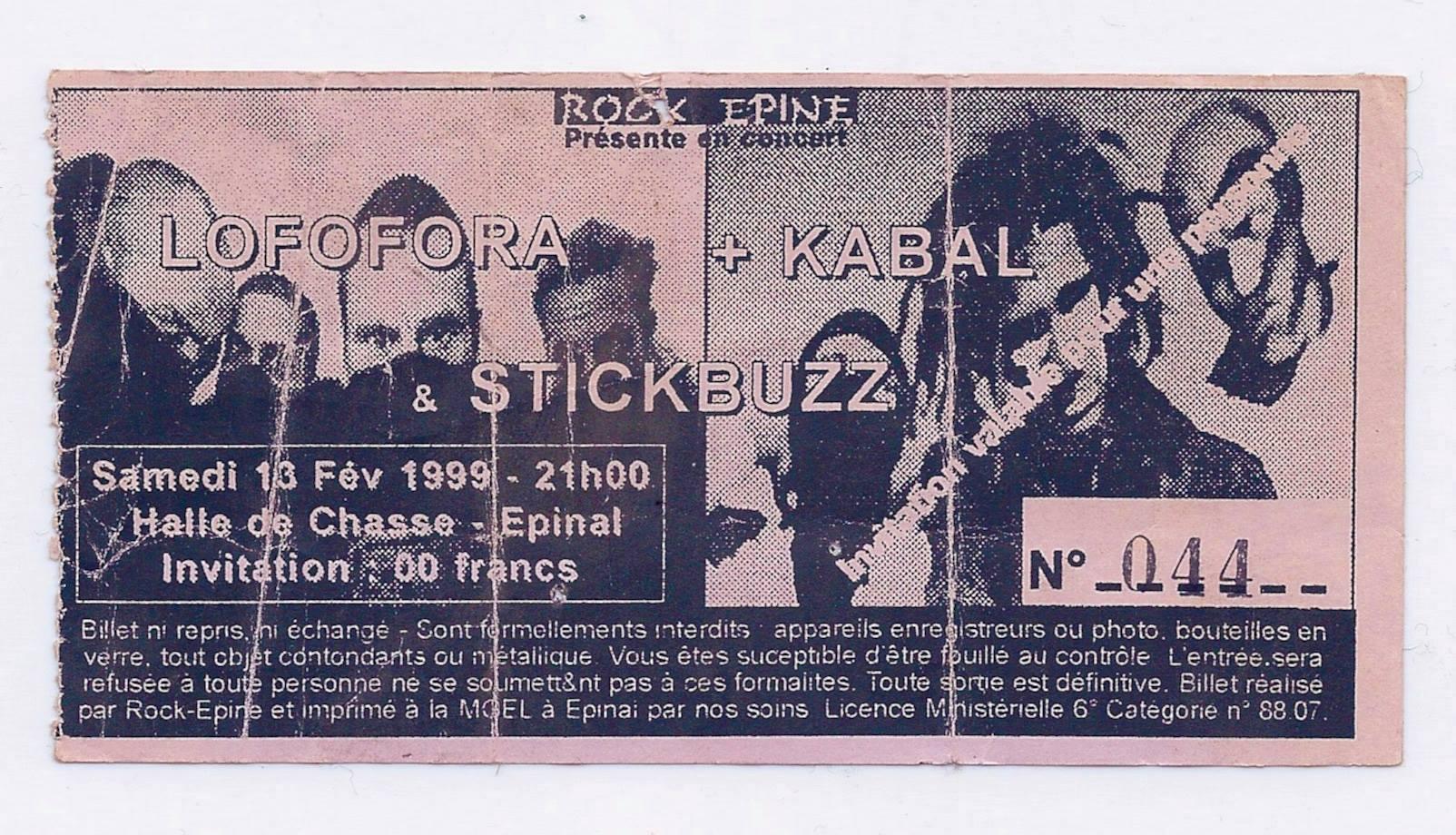 """13 février 1999 Lofofora, Kabal, Stickbuzz à Epinal """"Halle de la Chasse"""""""