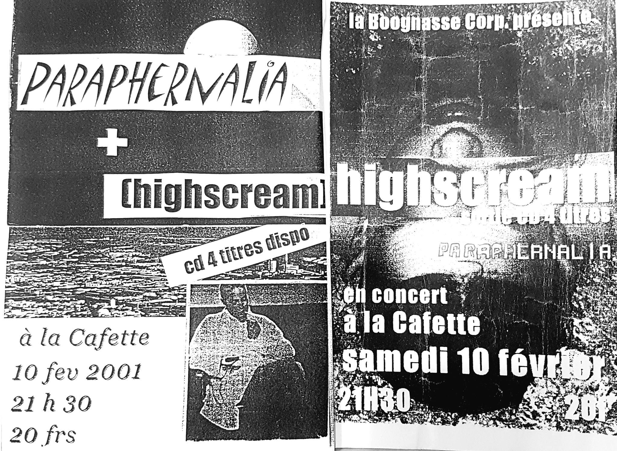 "10 février 2001 Paraphernalia, HighScream au Havre ""Cafette"""