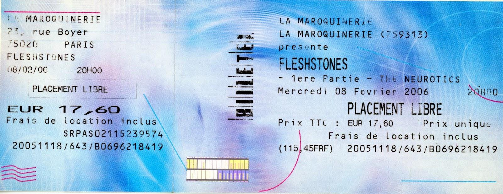 """8 février 2006 Fleshtones, the Neurotics à Paris """"la Maroquinerie"""""""