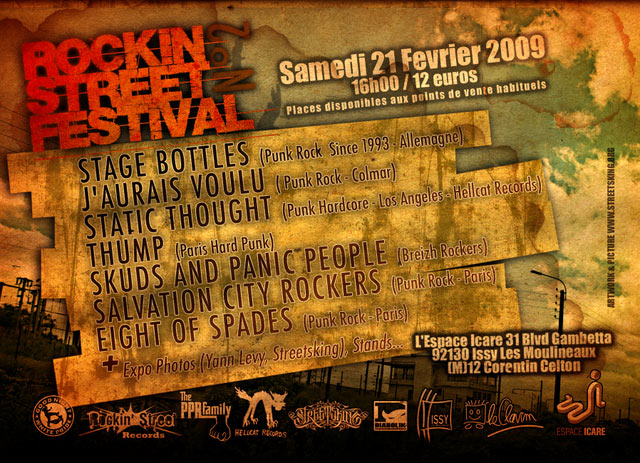 "21 février 2009 Stage Bottles, J'aurais Voulu, Static Thought, Thump, Skuds and Panic People, Salvation City Rockers, Eight Of Spades à Issy Les Moulineaux ""Espace Icare"""