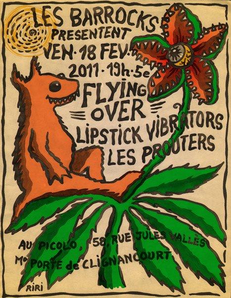 """18 fevrier 2011 Flying Over, Lipstick Vibrators, les Prouters à Saint Ouen """"le Picolo"""""""
