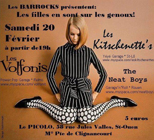 """20 fevrier 2016 (?) Les Volfonis, Les Kitschenette's, the Neat Boys à Saint Ouen """"Picolo"""""""