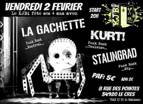 "2 février 2018 La Gachette, Kurt, Stalingrad au Cres ""KJBI"""