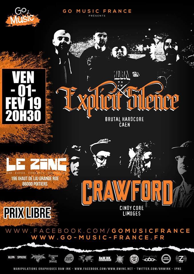 """1er février 2019 Explicit Silence, Crawford à Poitiers """"le Zinc"""""""