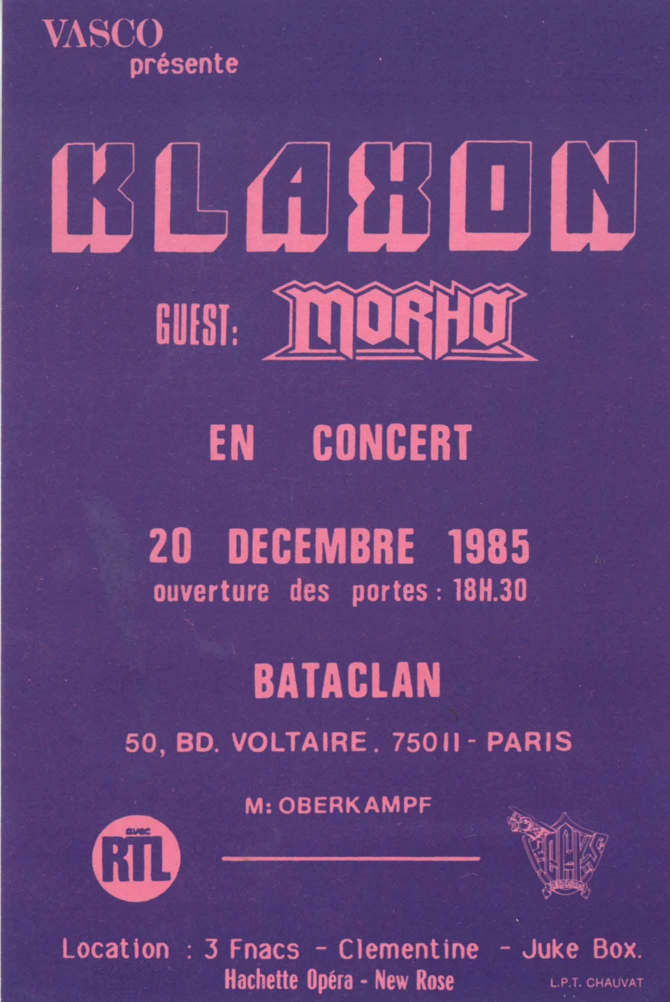 """20 decembre 1985 Klaxon, Morho à Paris """"Bataclan"""""""