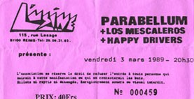 "3 mars 1989 Parabellum, Los Mescaleros, Happy Drivers à Reims ""l'Usine"""