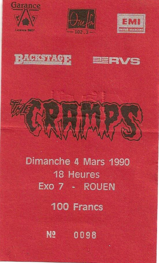 "4 mars 1990 The Cramps à Petit Quevilly ""Exo 7"""