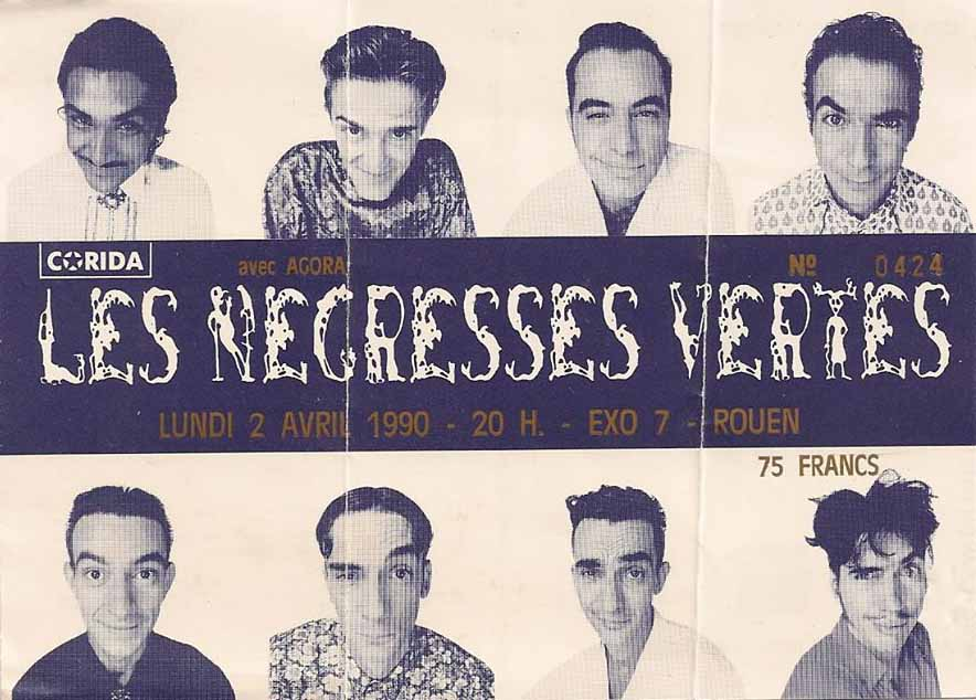 "2 avril 1990 les Negresses Vertes à Petit Quevilly ""Exo 7"""