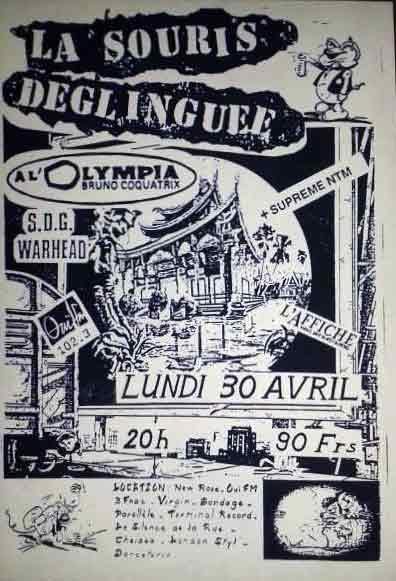 """30 avril 1990 La Souris Deglinguée, Supreme NTM à Paris """"Olympia"""""""