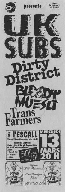 """13 mars 1991 (?) UK Subs,  Dirty District, Bloody Muesli, TransFarmers à Saint Sebastien Sur Loire """"Escall"""""""
