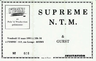 "15 mars 1991 Supreme NTM à Reims ""l'Usine"""