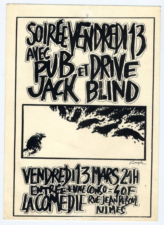 """13 mars 1992 Pub Jack, Drive Blind à Nimes """"la Comedie"""""""