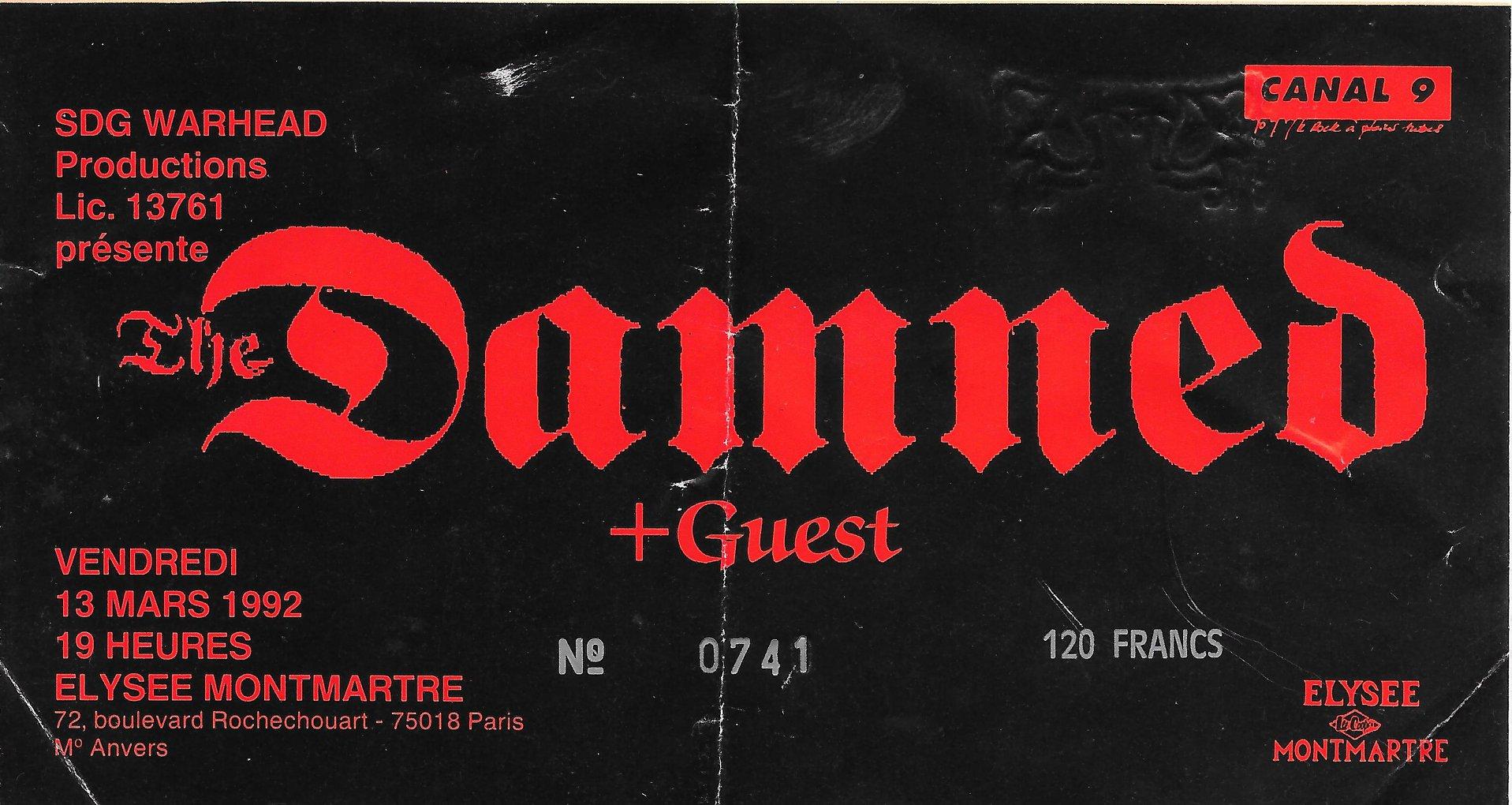 "13 mars 1992 Damned à Paris ""Elysee Montmartre"""