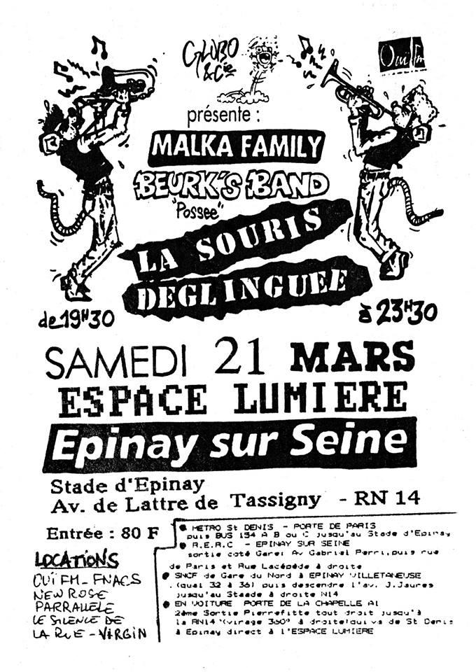 """21 mars 1992 La Souris Déglinguée, Beurk's Band, Malka Family à Epinay Sur Seine """"Espace Lumiere"""""""