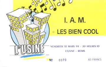 """18 mars 1994 IAM, Les Bien Cool à Reims """"l'Usine"""""""