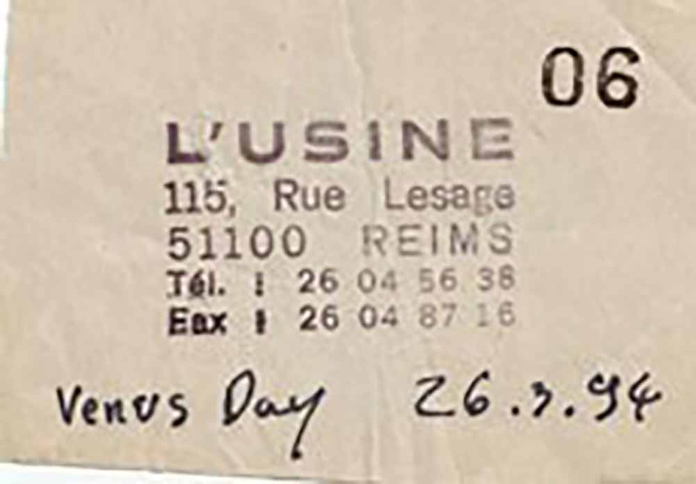 "26 mars 1994 Venus Day à Reims ""l'Usine"""