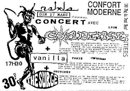 "27 mars 1994 Condense, Vanilla, the Surge à Poitiers ""Confort Moderne"""