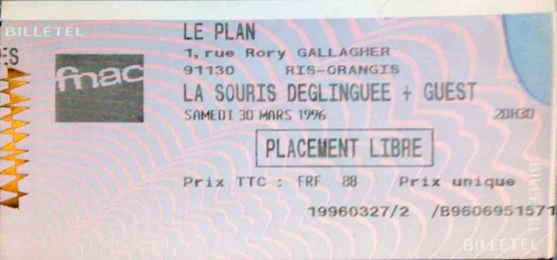 """30 mars 1996 La Souris Deglinguée à Ris Orangis """"le Plan"""""""