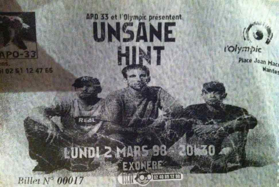 """2 mars 1998 Unsane, Hint à Nantes """"Olympic"""""""