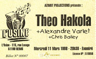 "11 mars 1998 Theo Hakola, Alexandre Varlet, Chris Bailey à Reims ""l'Usine"""