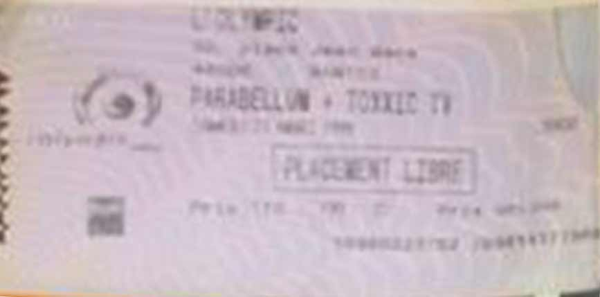 "21 mars 1999 Parabellum, Toxxic TV à Nantes ""Olympic"""