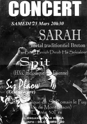 """25 mars 2000 Sarah, Spit, Sis Plaow à St-Romain Le Puy """"Amicale Laique"""""""