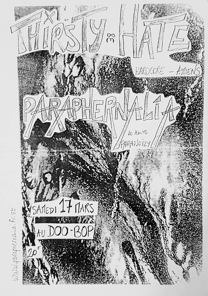 """17 mars 2001 Thirsty Hate, Paraphernalia au Havre """"Doo Bop"""""""
