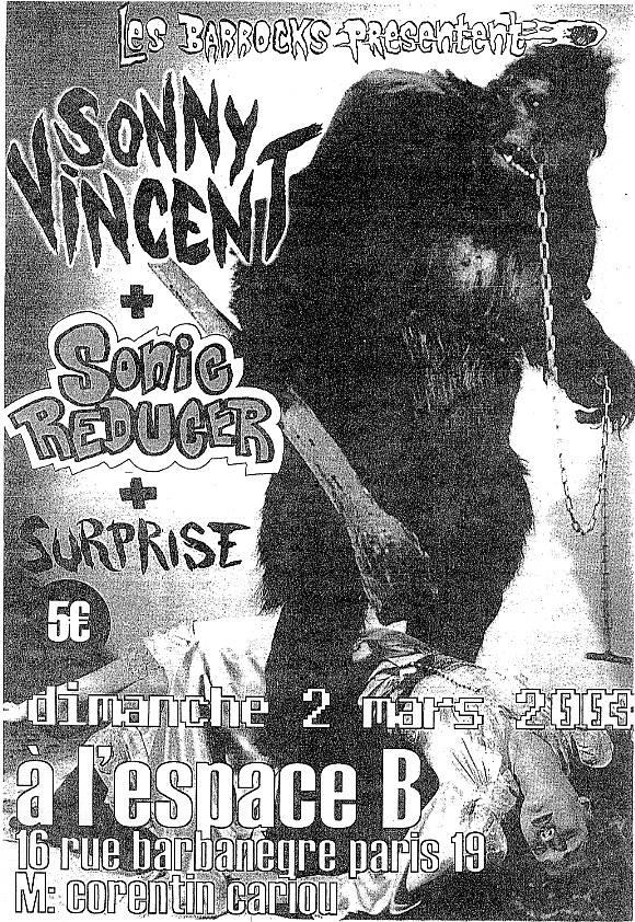 """2 mars 2003 Sonny Vincent, Sonic Reducer à Paris """"Espace B"""""""