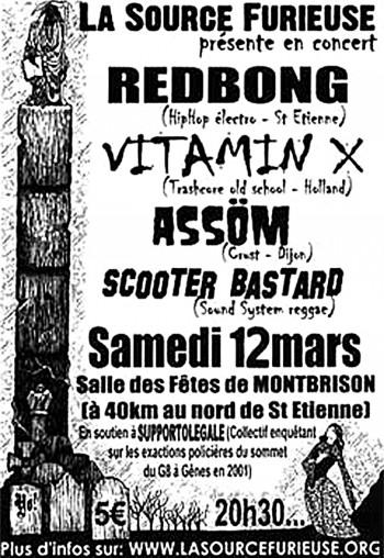 "12 mars 2005 Vitaminx X, Redbong, Assöm, Scooter Bastard à Montbrison ""Salle des Fêtes"""