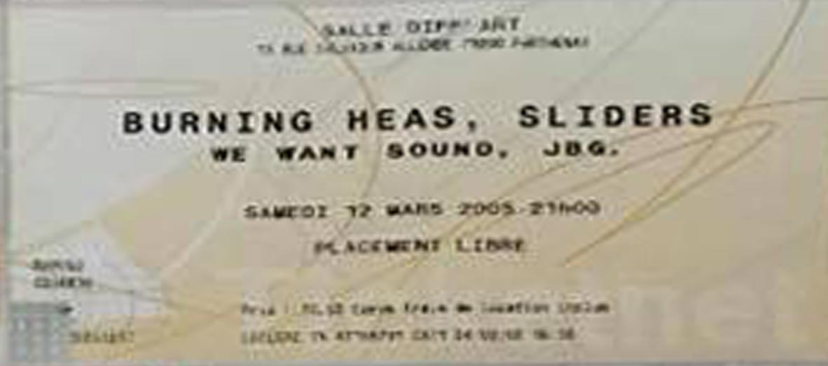"12 mars 2005 Burning Heads, Sliders, We Want Sound, JBG à Parthenay ""Diff'art"""