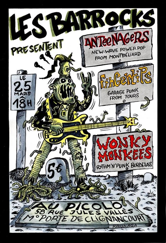 "25 mars 2006 Anteenagers, Fingertips, Wonky Monkees à Saint Ouen ""le Picolo"""