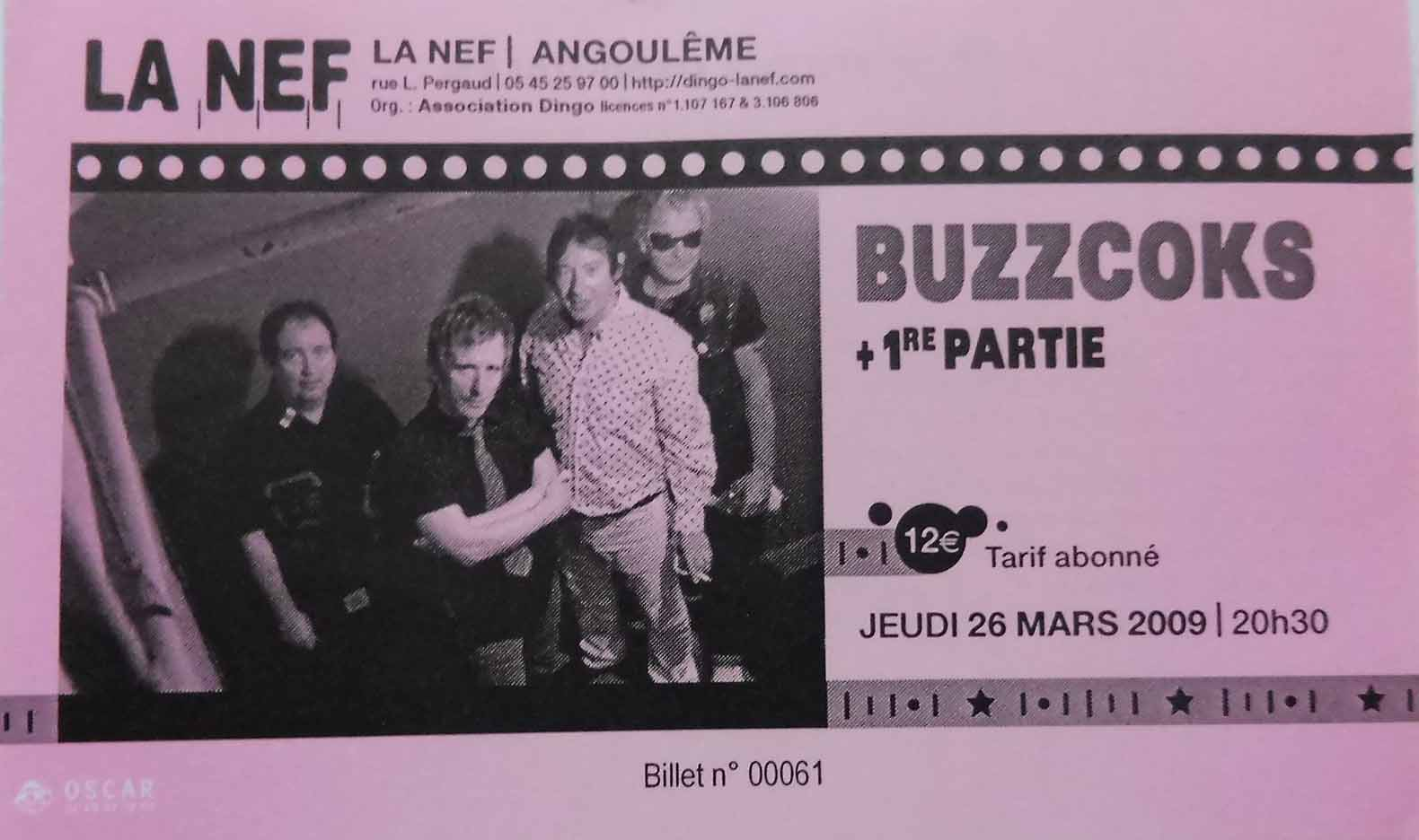 "26 mars 2009 Buzzcoks à Angouleme ""la Nef"""