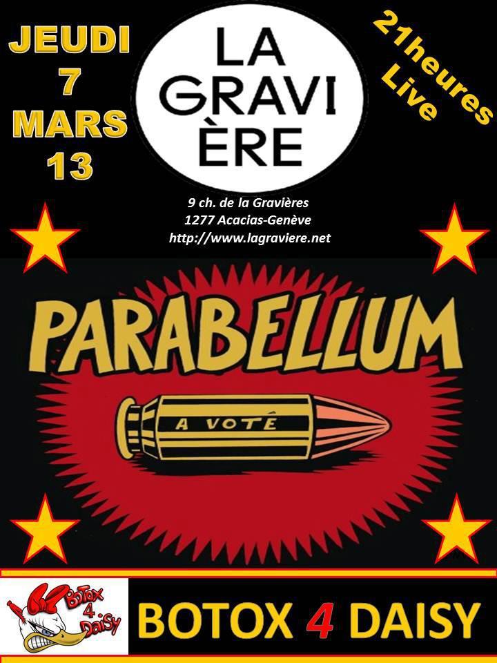 """7 mars 2013 Parabellum à Geneve """"la Graviere"""""""
