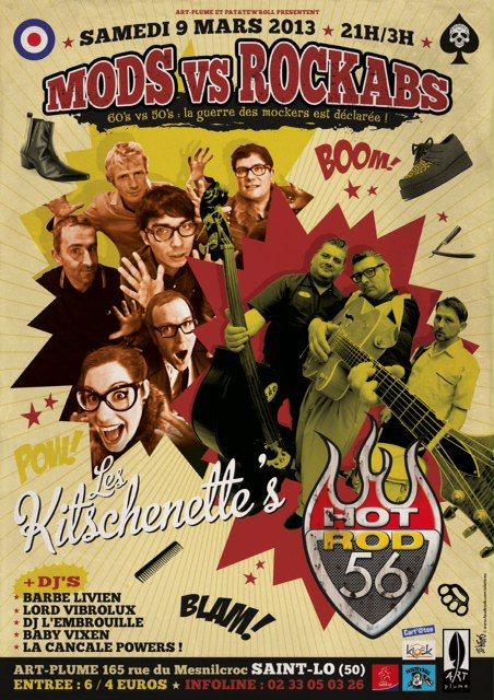 """9 mars 2013 Les Kitschenette's, Hot Rod 56 à Saint Lo """"Art Plume"""""""