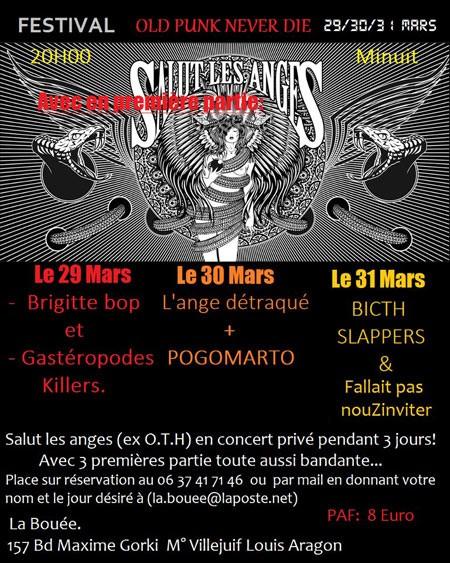 """29 mars 2013 Salut les Anges, Brigitte Bop, les Gasteropodes Killers à Villejuif """"la Bouée"""""""