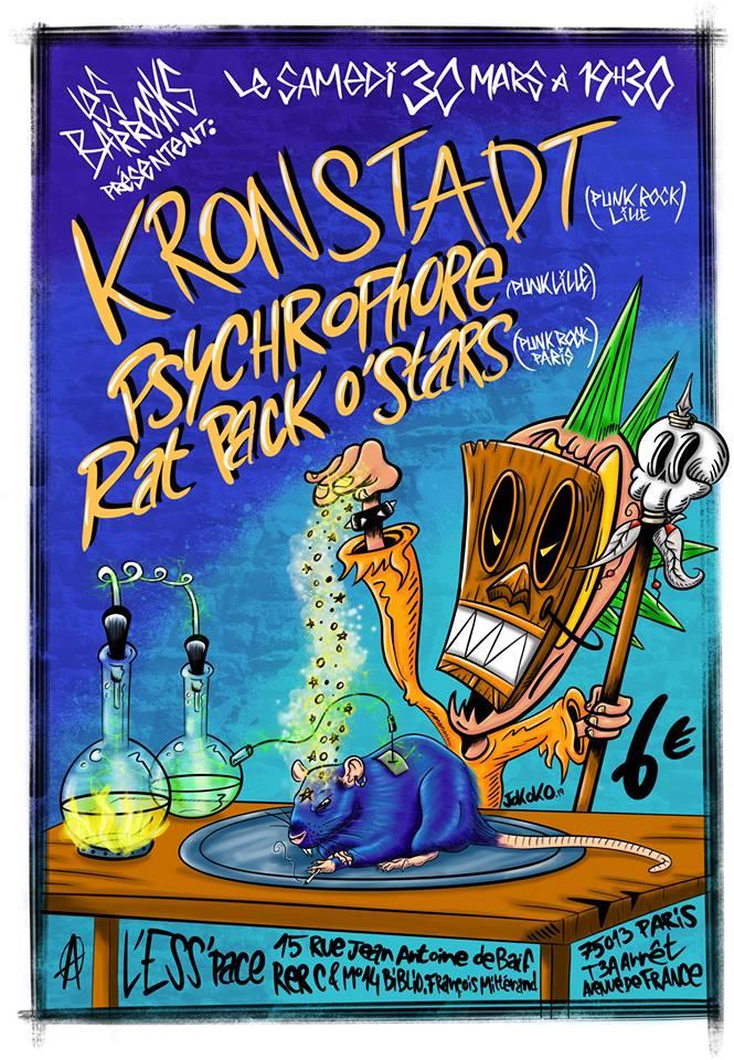 "30 mars 2019 Kronstadt, Psychrophore, Rat Pack o Stars à Paris ""l'Esspace"""
