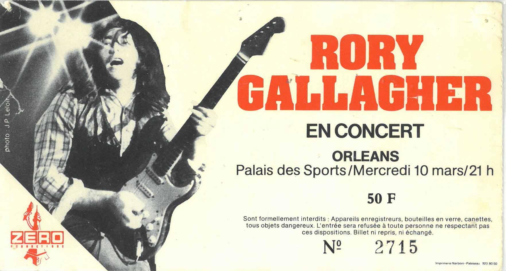 """10 mars 1982 Rory Gallagher à Orléans """"Palais des Sports"""""""