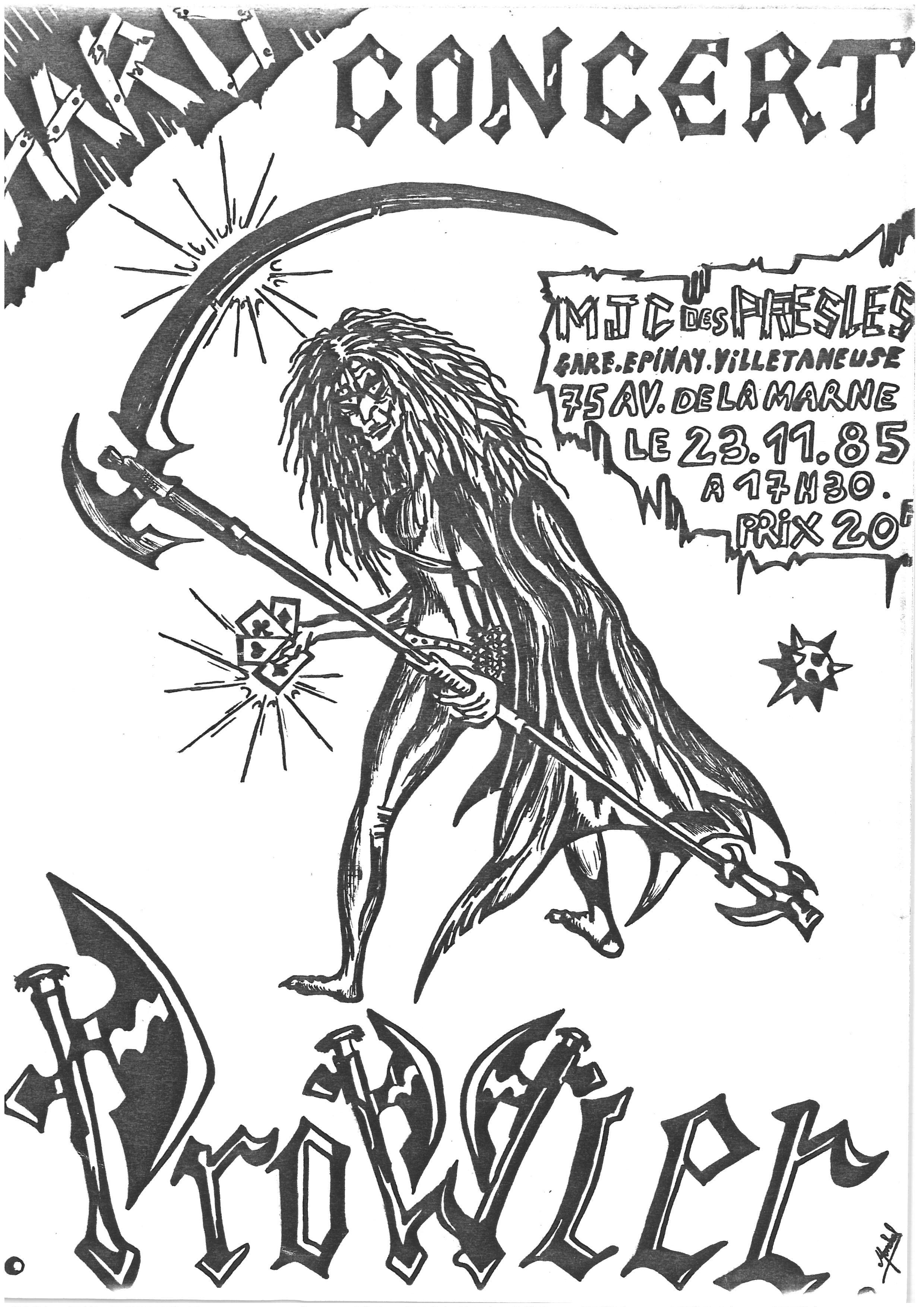 """23 novembre 1985 Prowier à Presles """"MJC"""""""