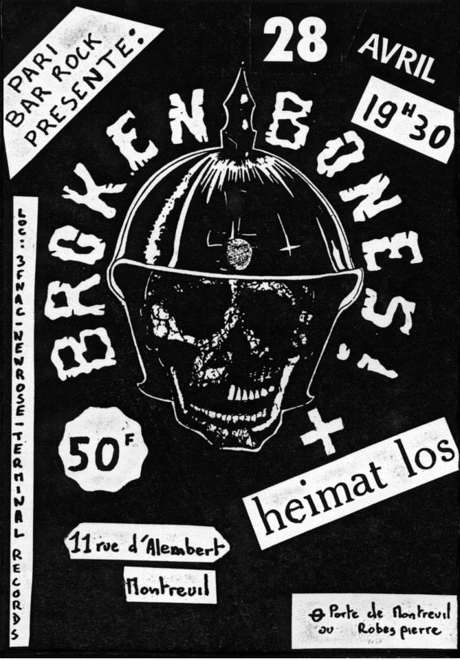 28 avril 1987 Broken Bones, Heimat Los à Montreuil
