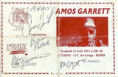 "12 avril 1991 Amos Garrett à Reims ""Usine"""