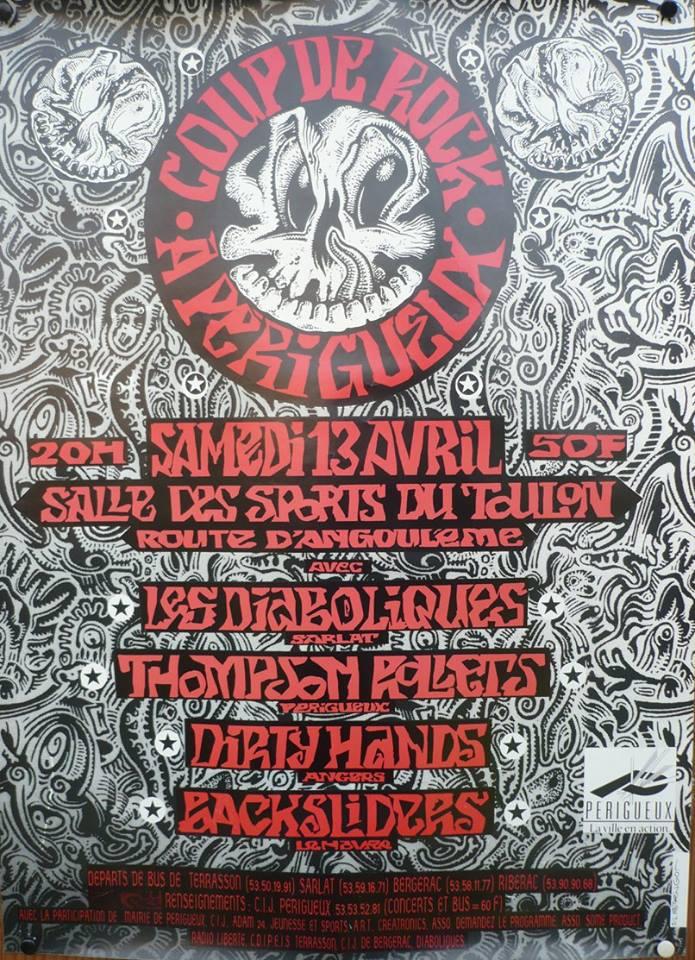 """13 avril 1991 Backsliders, Dirty Hands, Thompson Rollets, les Diaboliques à Perigueux """"Salle des Sports du Toulon"""""""
