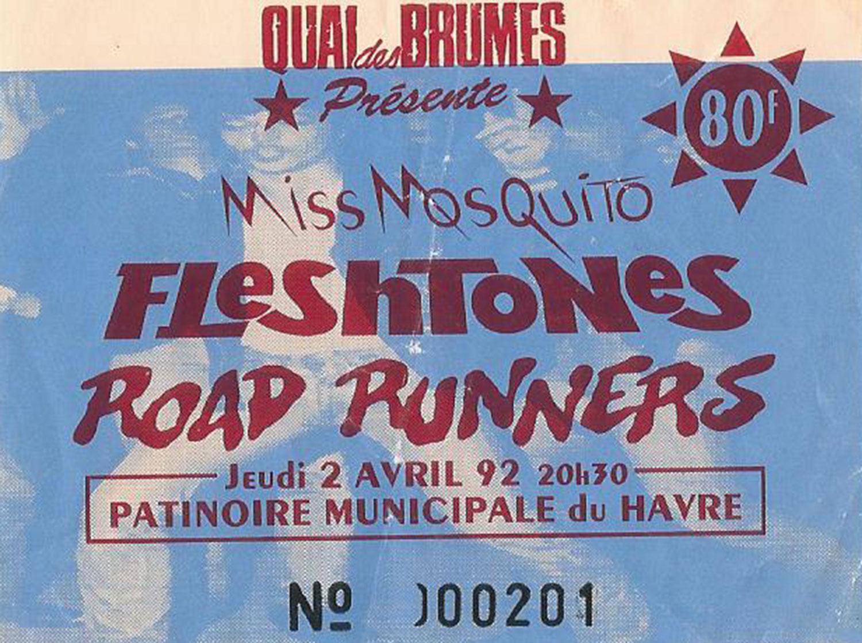 "2 avril 1992 Fleshtones, Roadrunners, Miss Mosquito au Havre ""la Patinoire Municipale"""