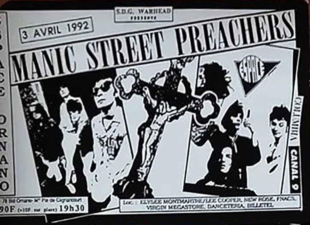 """3 avril 1992 Manic Street Preachers à Paris """"Espace Ornano"""""""