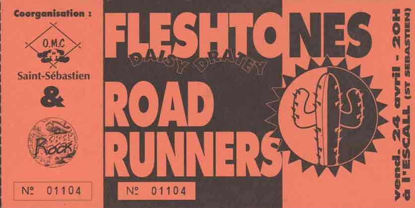 """24 avril 1992 Fleshtones, Roadrunners, Daisy Dratey à Saint Sebastien Sur Loire """"l'Escall"""""""