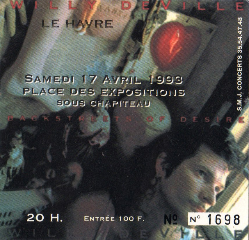 "17 avril 1993 Willy de Ville au Havre ""Place des Expositions"""