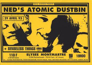"""29 avril 1993 Ned's Atomic Dustbin, Senseless Things à Paris """"Elysée Montmartre"""""""