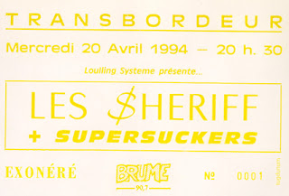 "20 avril 1994 Les Sheriff, Supersuckers à Lyon ""Transbordeur"""