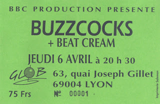 "6 avril 1995 Buzzcocks, Beat Cream à Lyon ""Glob"""